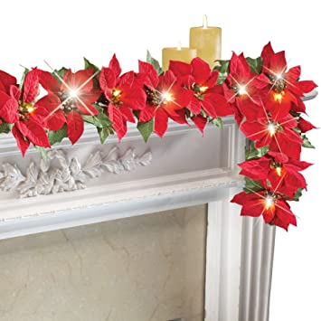 amazon com lighted christmas poinsettia garland red home kitchen