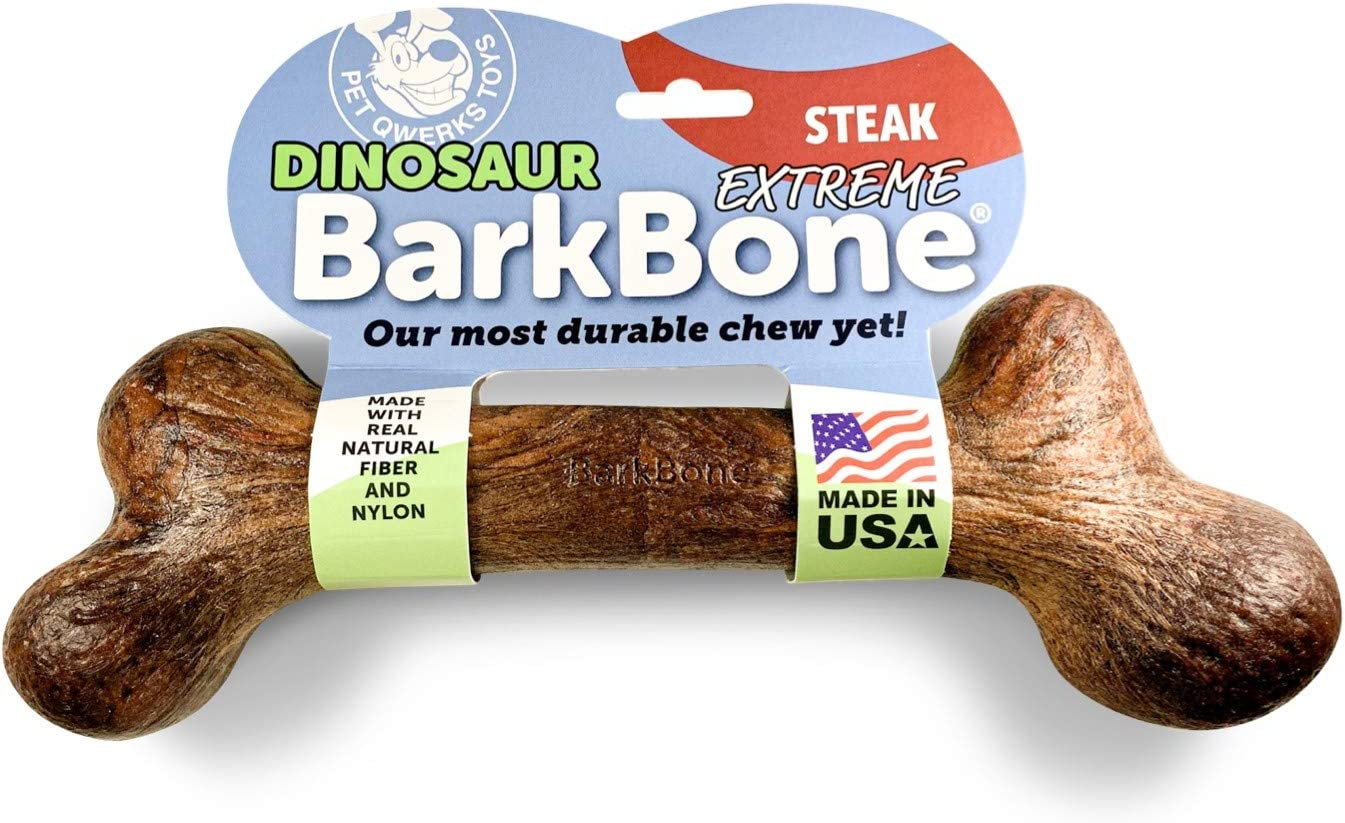 Durable Dog Toy for Aggressive Chewers XXXLarge for Large Breed Dogs Pet Qwerks Real Bacon Infused Dinosaur BarkBone Tough Indestructible Power Chewer Bones Made in USA FDA Compliant Nylon