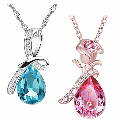 8492e29e60a38 Buy Om Jewells Austrian Crystal Pink Water Drop Pendant Necklace ...