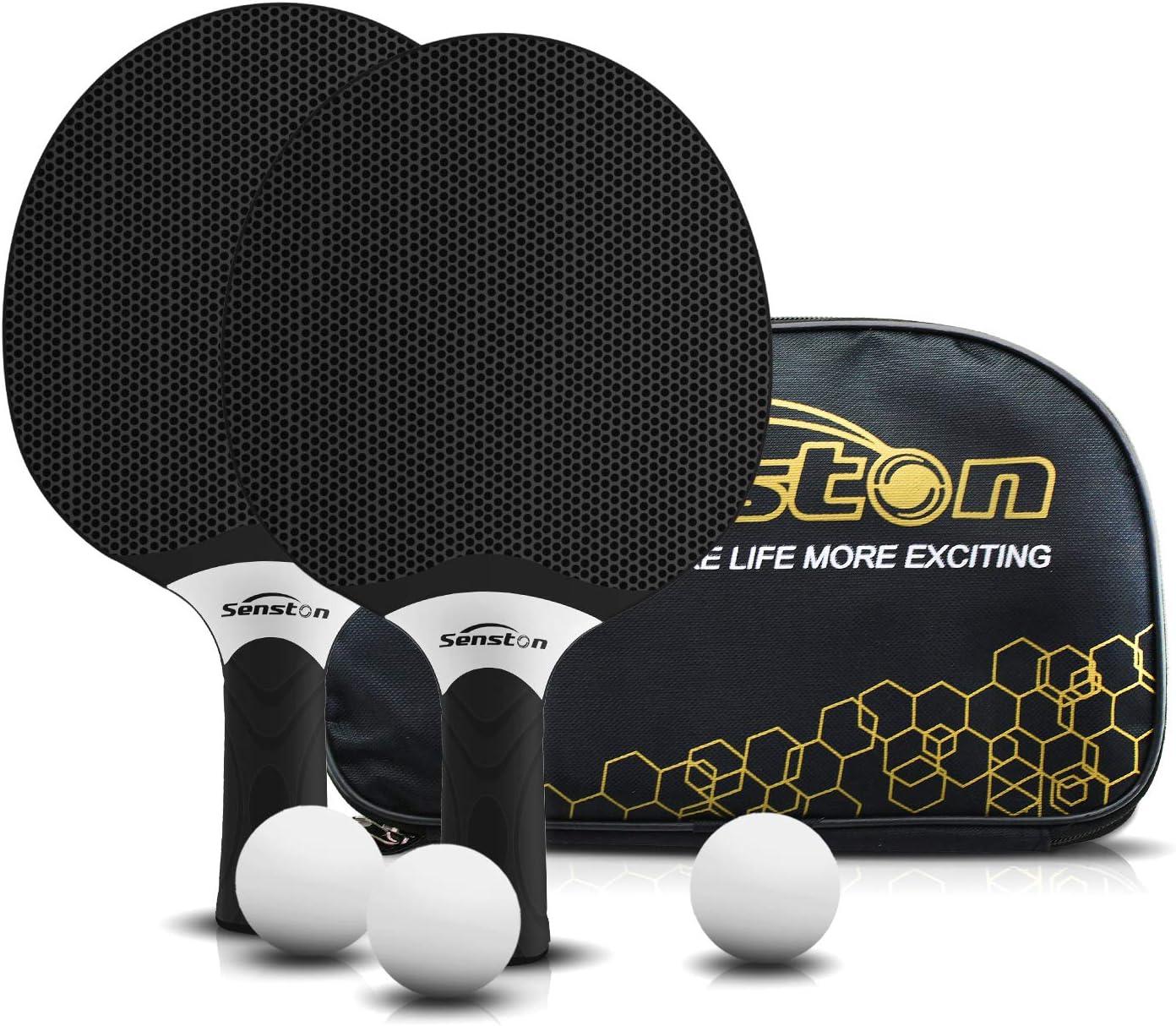 Senston Juego de Raquetas de Tenis de Mesa, Bates de Tenis de Mesa Profesionales con 3 Pelotas, Juego de Palas de Ping Pong de Goma compuesta