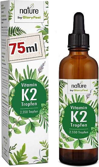 Vitamin K2 MK-7 75ml 200µg - 2.550 Vegane Tropfen - 99,7% Höchster All-Trans Gehalt - Premium Gnosis VitaMK7 hoch Bioverfügba