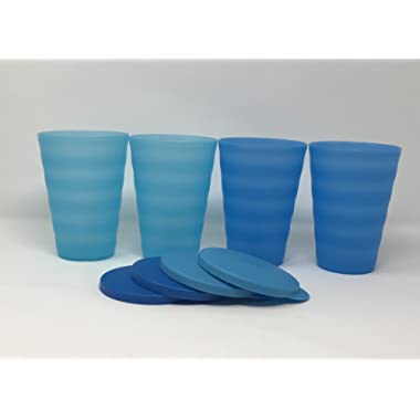 Tupperware Impressions Tumblers 16Oz Set of 4 Blue No Straw Holes