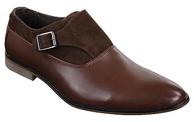 Chaussures Homme à Enfiler Cuir et Daim PU avec Boucle Style Italien Chic  décontracté 67e39057670