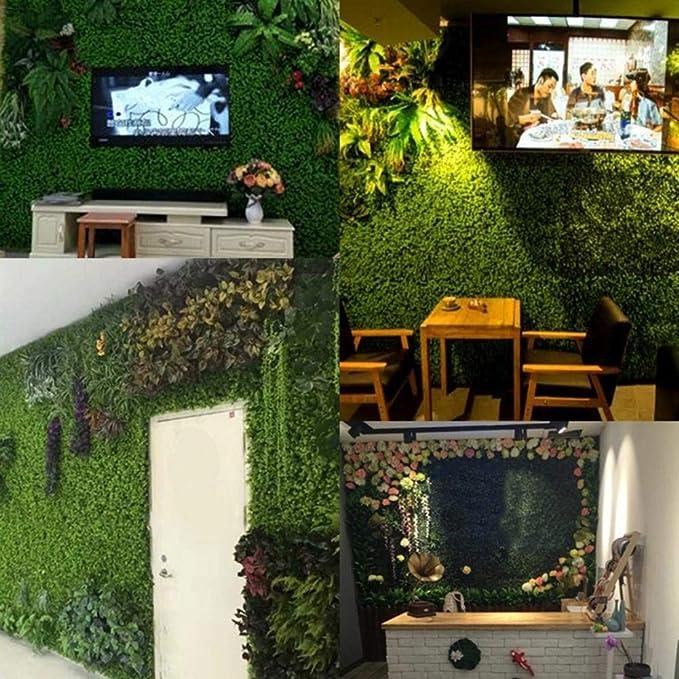 Justdolife Green Plastic Plant Decorative Artificial Panels Fake Hedge Plant for Home Garden Yard Decor