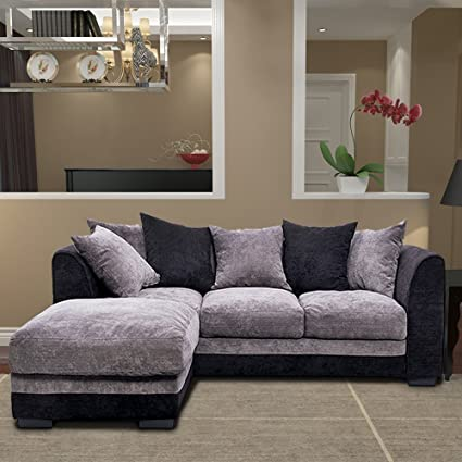 bon Corner Group Sofa Right Hand and Left Hand Living Room Corner Sofa Set  (Black/Grey, 3 Seater+Ottoman)