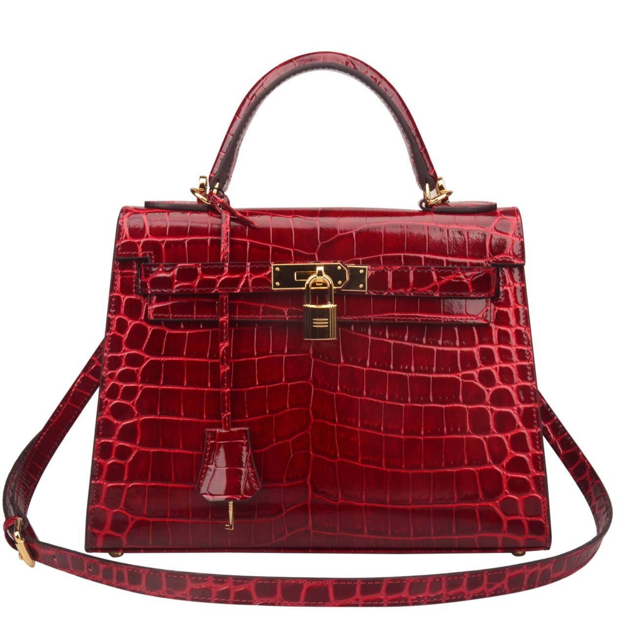 Ainifeel Women's Padlock Crocodile Embossed Patent Leather Shoulder Handbags (28cm, Claret red)