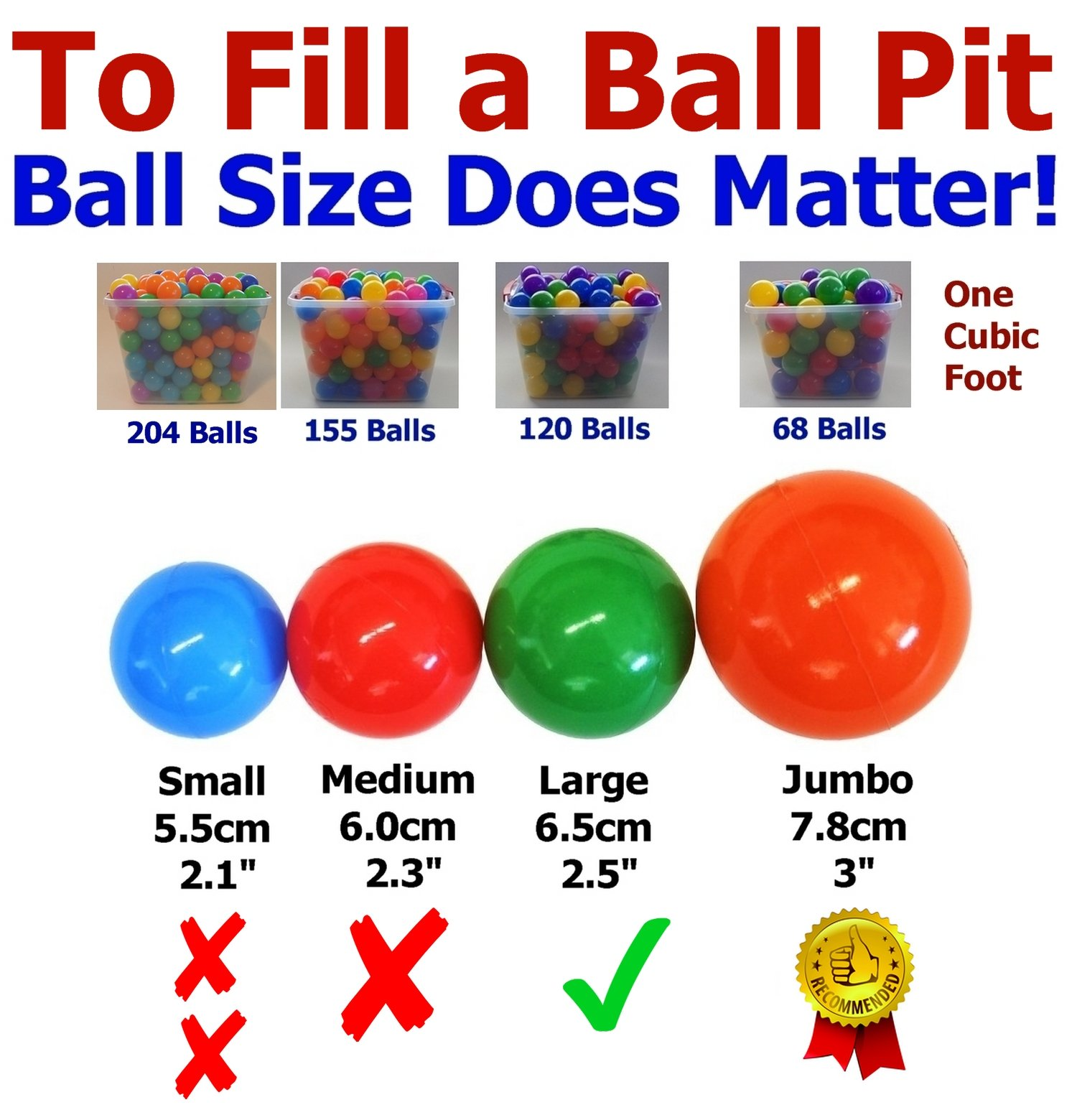 My Balls Pack of 600 Jumbo 3'' Red/Yellow/Green Colors of Season Heavy Duty Commercial Grade Crush-Proof Ball Pit Balls - Phthalate Free BPA Free Non-Recycled Plastic by My Balls (Image #2)