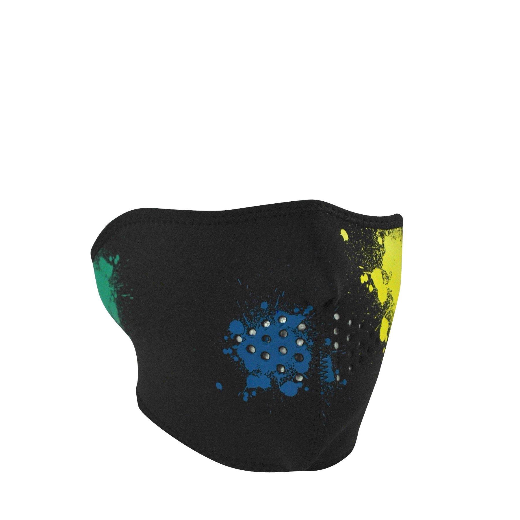Zanheadgear Neoprene Half Face Mask, Splatter, Glow in the Dark