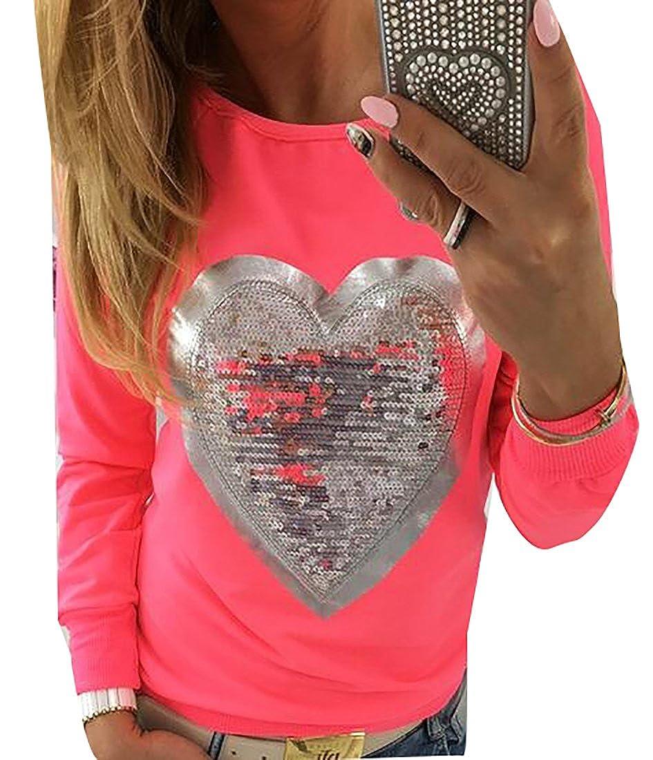 WSPLYSPJY Women's Round Neck Long Sleeve Heart Sequins Tunic T Shirt