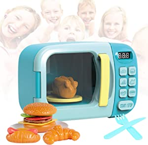 DmbsmOB Microwave Kitchen Play Set - Kids, Children, Toddlers Pretend Play Set with Fake Food Included - Great for Toddlers 3 Years and Older