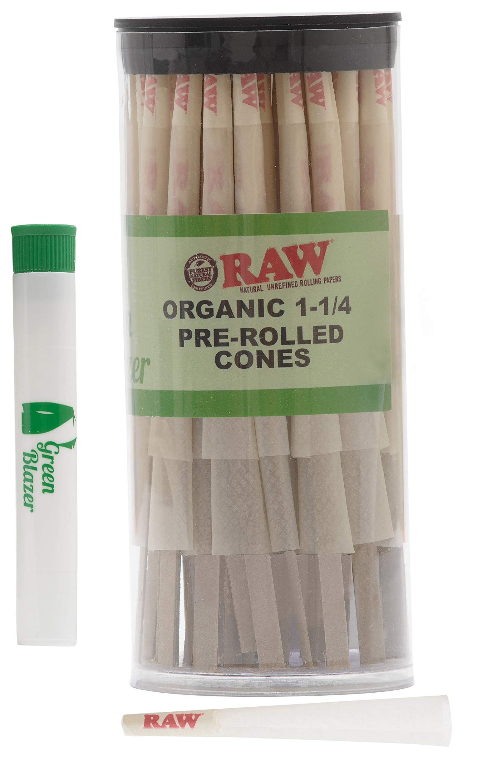 Raw Pre-Rolled Cones Organic 1 1/4: 100 Pack - Hemp Rolling Papers with Filters - Extra Clean and Slow Burning Cone Made of Pure Hemp - Doob Tube Included by Raw, The Green Blazer