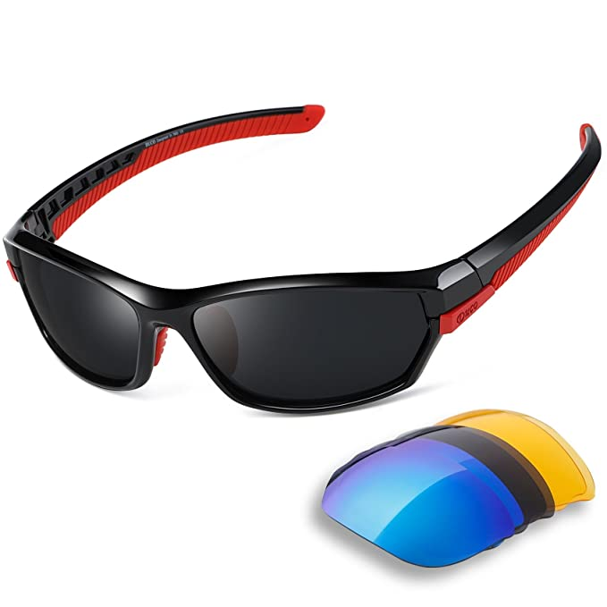 3c659887a5 Duco Polarised Sports Mens Sunglasses for Ski Driving Golf Running Cycling  Tr90 Superlight Frame With 3 Interchangeable Lenses 6216  Amazon.ca   Clothing   ...