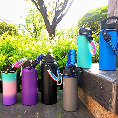 Water Bottle Carrier Strap Cup Handle Rope with Carabiner for Walking Hiking