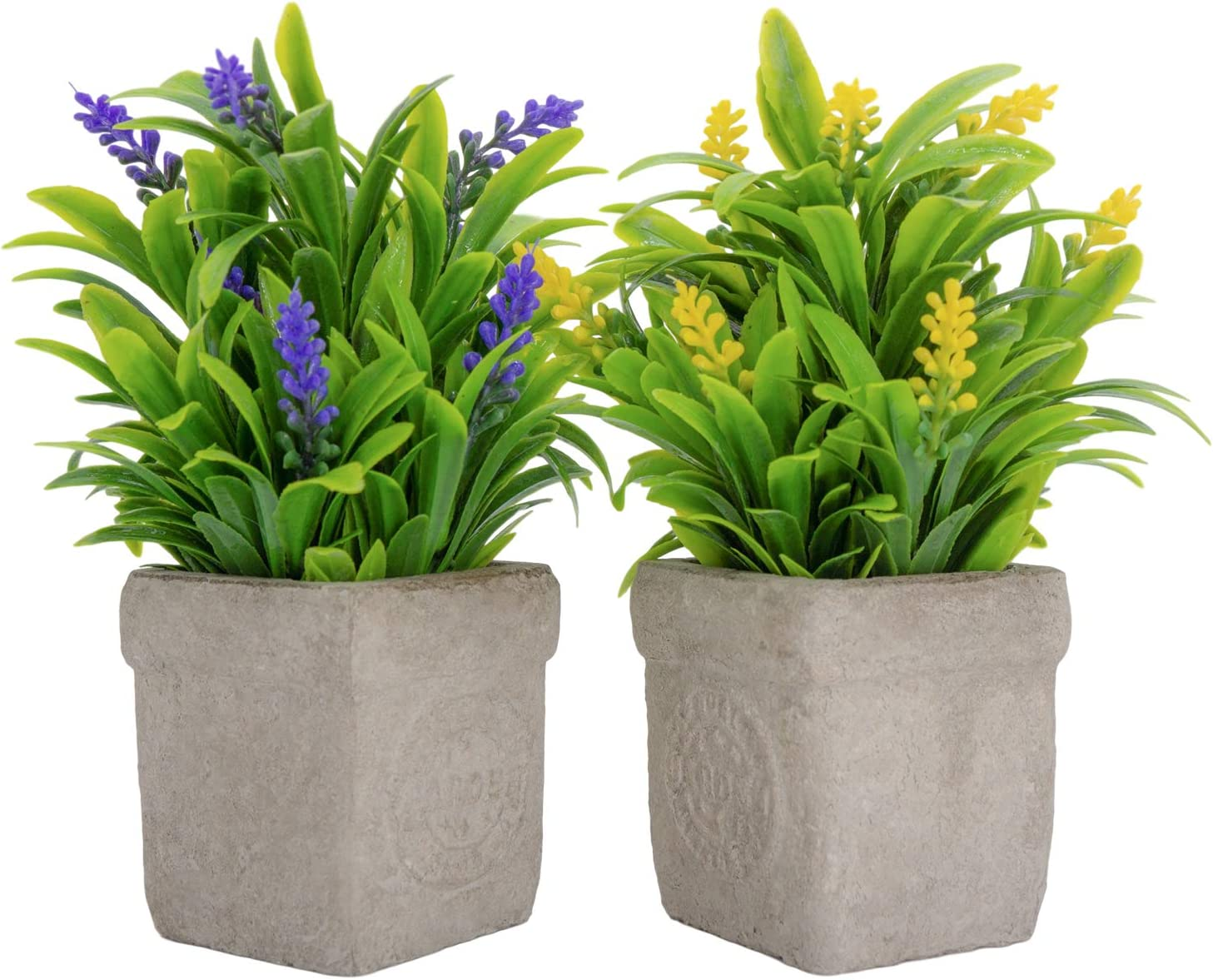 2 Pack Artificial Plants in Pots for Home Decor Indoor Aesthetic, Fall Décor Faux Fake Lavender Flowers for Desk and Shelf in Bathroom / Bedroom / Living Room/ Farmhouse