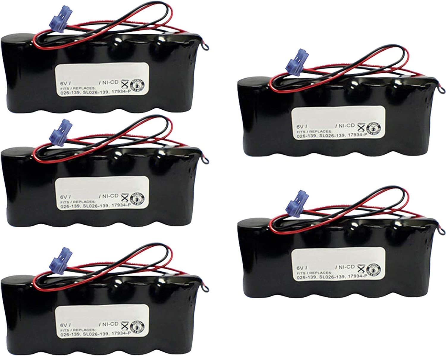 (5-Pack) Emergency/Exit Lighting Battery Fits & Replaces Sure-Lites 026-139 N30AF004A Teig T26000139 Beghelli 17934-P Interstate ANIC0636 Moltech N30AF004A Powersonic 26139 Powersonic A1314610 71C1mf8j-MLSL1500_