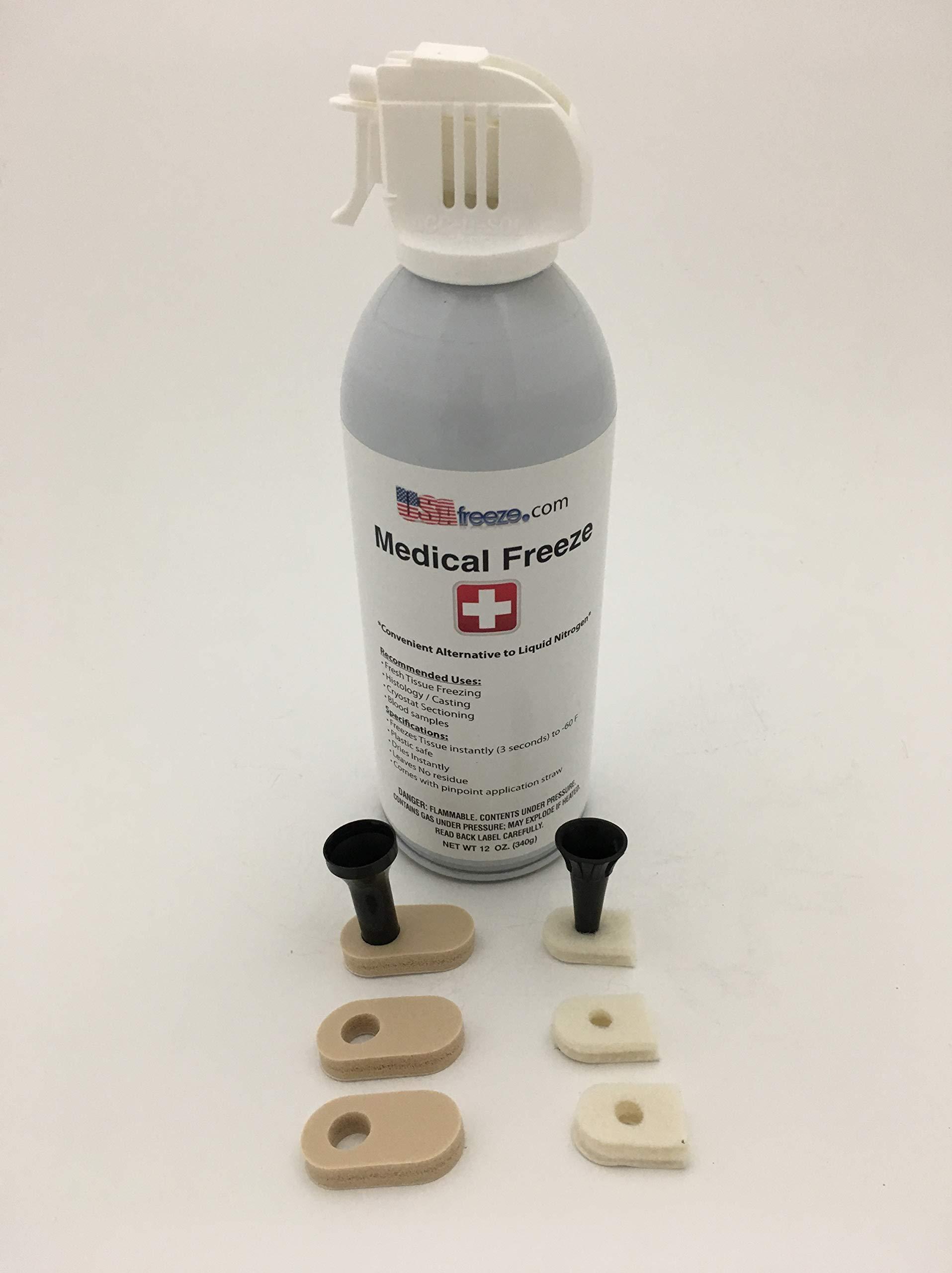 USA Freeze MF-65-2FP Medical Freeze Aerosol Spray w/2 Speculum funnels, 12 Custom Application Pads, Dispensing Straw 3.5oz