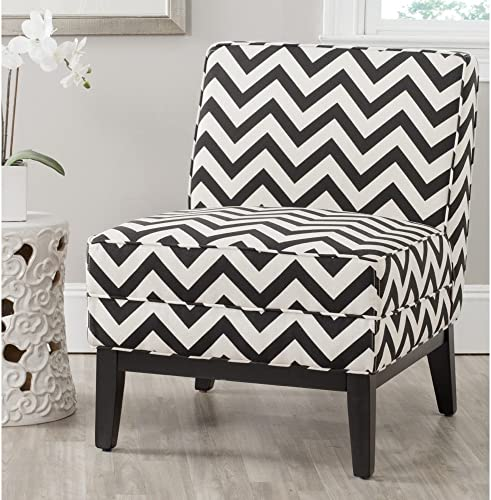 Safavieh Mercer Collection Armond Accent Chair, Black and White