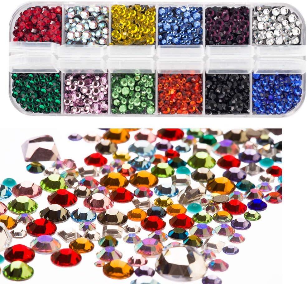 CTOBB 40 Colores Todos los tama/ños Crystal AB Hotfix Rhinestones Aguamarina Mezcla ss3-ss30 1000pcs Glass Strass Hotfix Iron en Rhinestones para Costura de u/ñas y decoraci/ón de Telas