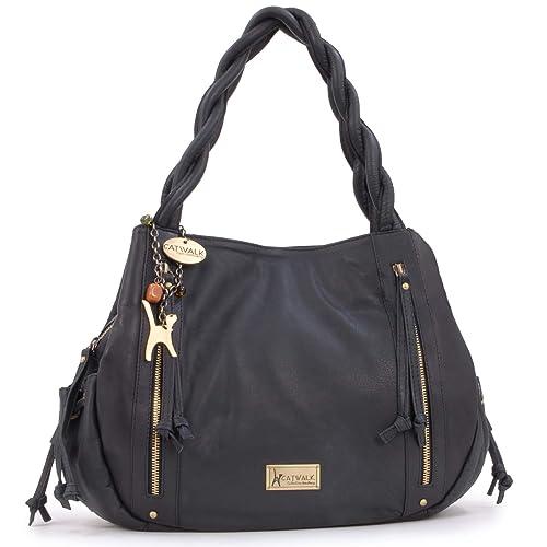 2670046129ed Catwalk Collection Handbags - Women s Leather Tote Shoulder Bag - CAZ -  Black