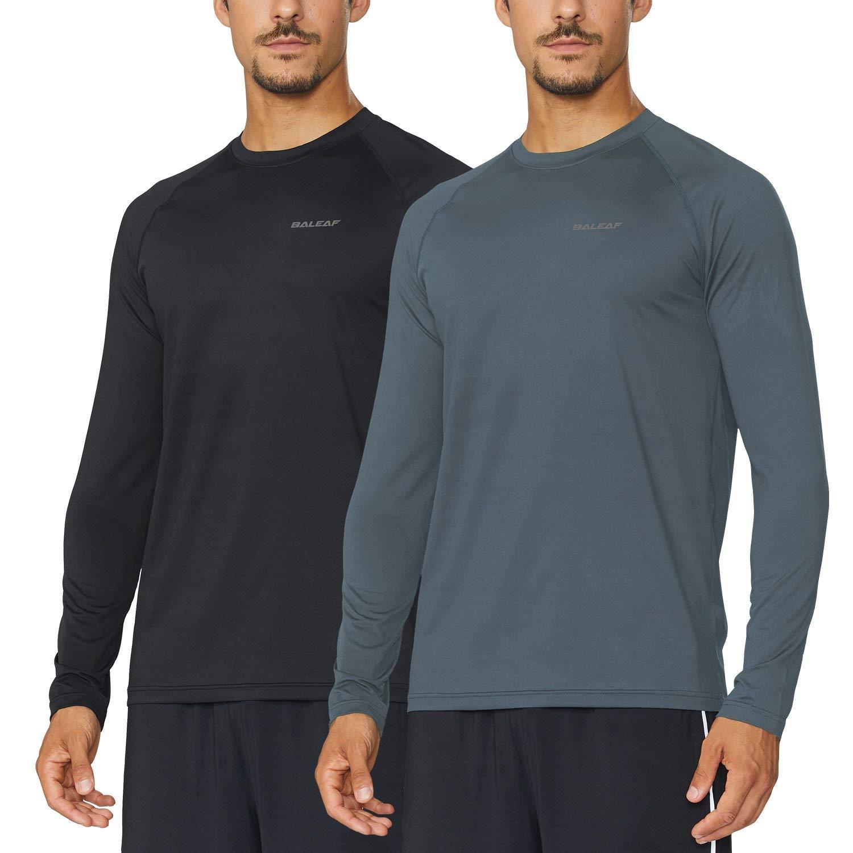 Baleaf Men's Cool Running Workout Long Sleeve T-Shirt Color Black/Slate Grey Size S by Baleaf