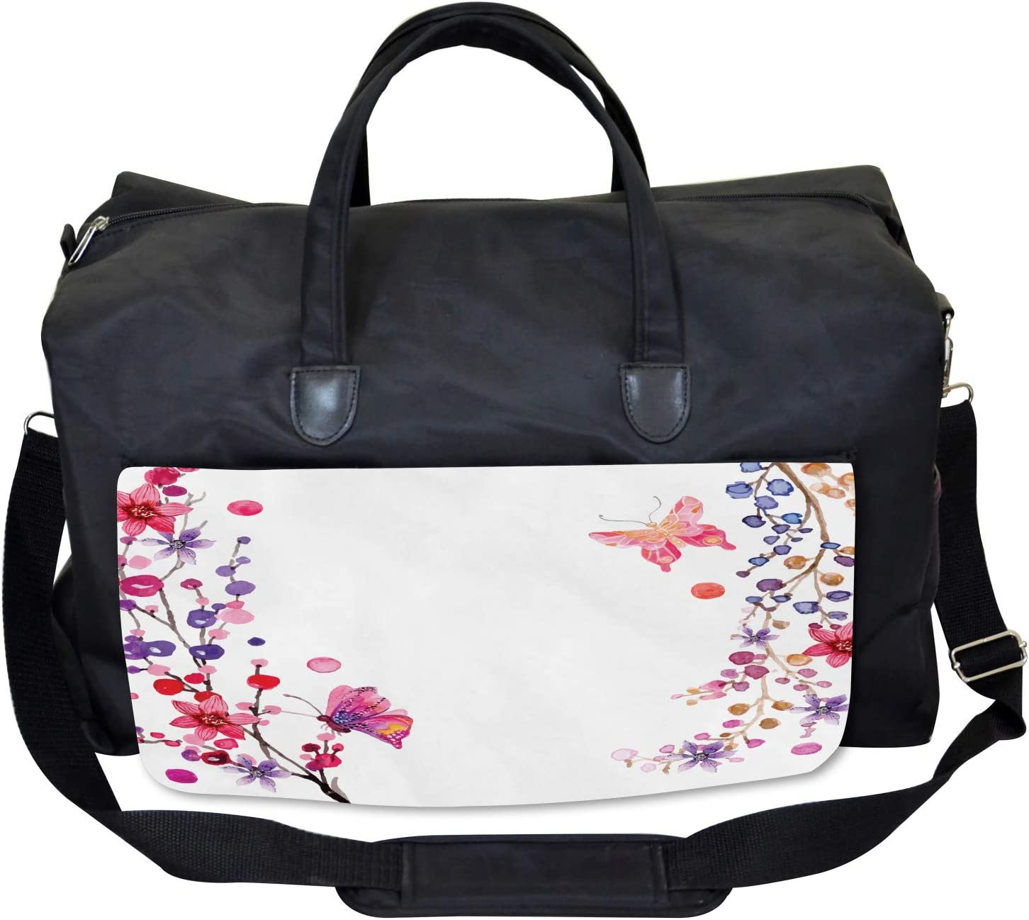 Floral Art and Butterfly Large Weekender Carry-on Ambesonne Exotic Gym Bag