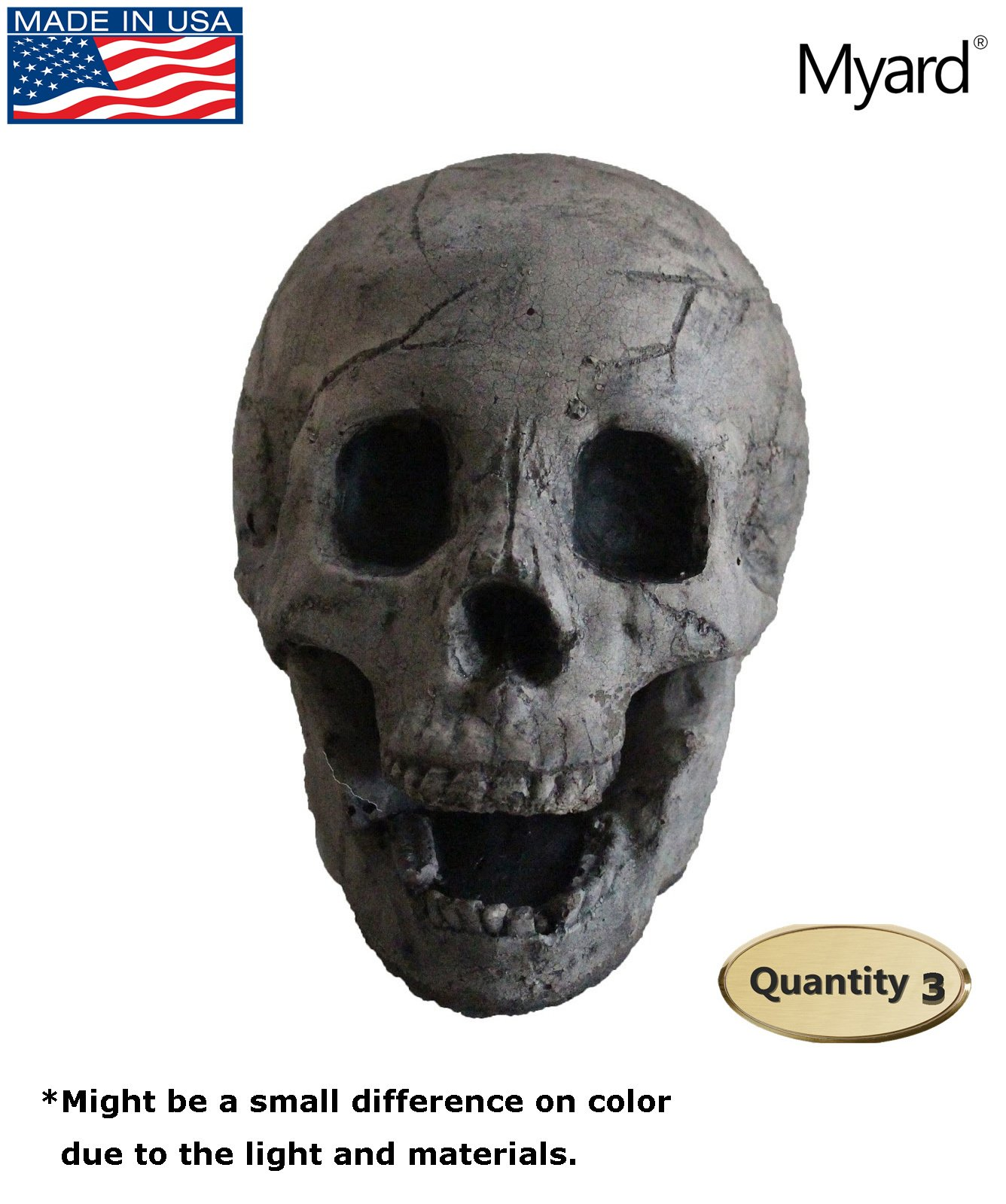 Myard DELUXE Log - Imitated Human Skull Fire Gas Log for Natural Gas / Liquid Propane / Wood Fire Fireplace & Fire Pit Halloween (Qty 3, Aged Dark Grey Skull)