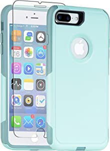 Legfes Phone Protective Case, Commuter Series iPhone 8 Plus Case.with [Tempered Glass Screen Protector] and Shock-Resistant Double-Layer Shell for iPhone 7 Plus (Aqua SALL)