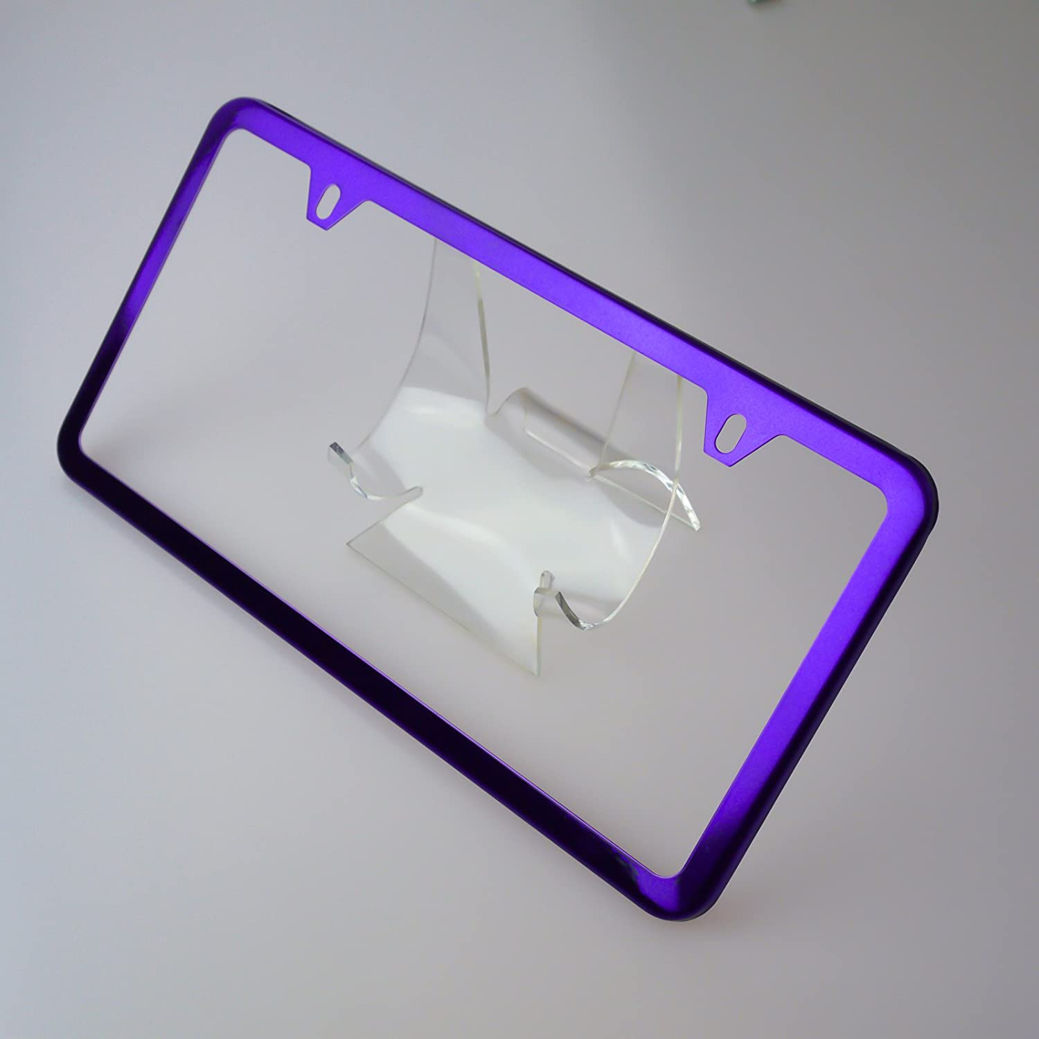 Amazon.com: Circle Cool Purple Chrome Powder Coated Stainless Steel License Plate Slim Two Hole Frame Holder Bracket: Automotive