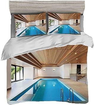 Juego de funda nórdica (150 x 200 cm) con 2 fundas de almohada Decoración de la casa Ropa de cama con impresión digital Apartamento con piscina cubierta Techo de madera Residente privado