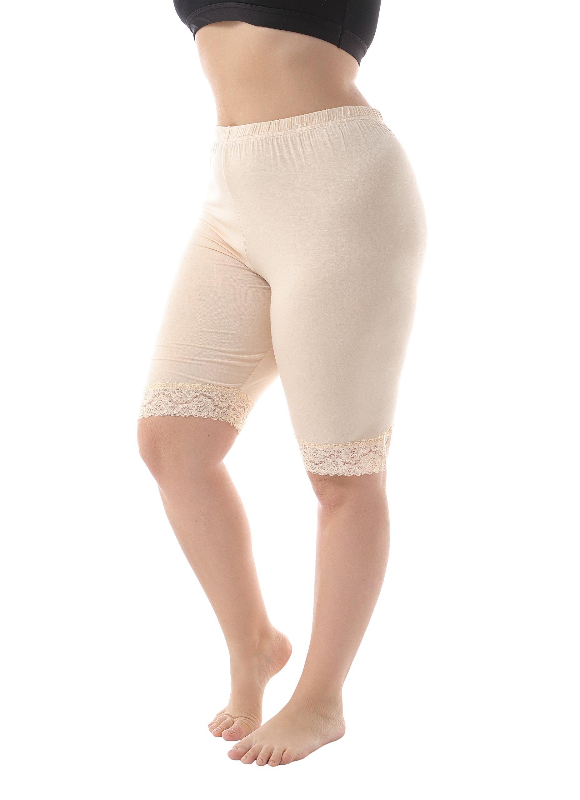 ZERDOCEAN Women's Plus Size Modal Basic Mid Thigh Short Leggings with Lace Trim Khaki 4X