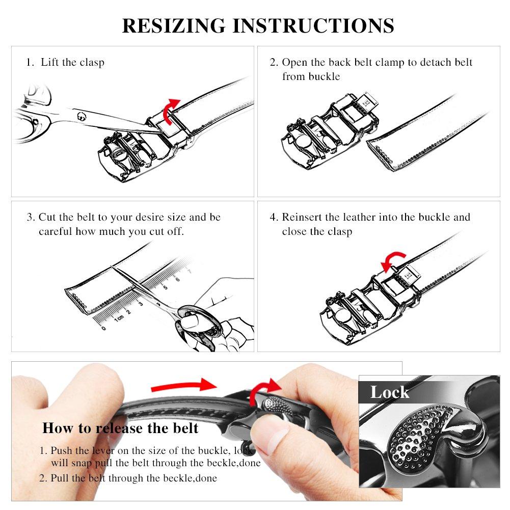 Big Sale New Bostanten Mens Leather Ratchet Dress Belt With Cfl Ups Circuit Diagram Automatic Sliding Buckle Black Waist 28 34 Clothing