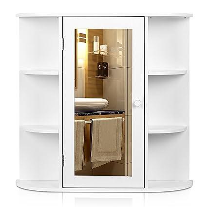 Homfa Landhaus Spiegelschrank Hangeschrank Badezimmerschrank Badspiegelschrank Wandschrank Badschrank Medizinschrank Wandboard Regal Weiss 66x17x63cm