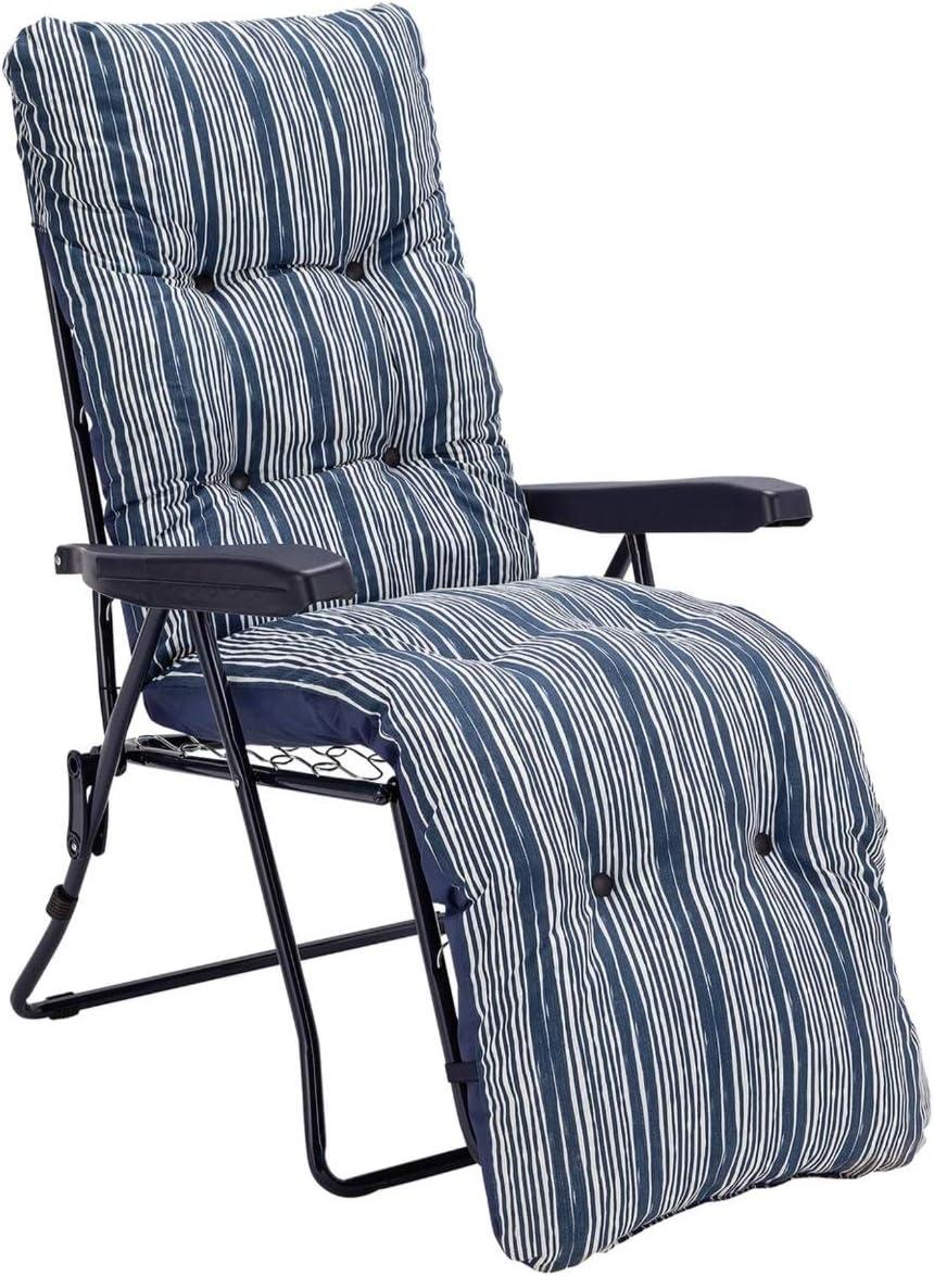 Sainsburys Padded Reclining Sun Lounger Cushioned Chair Set - Navy