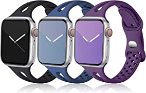Ouwegaga Slim Band Compatible with Apple Watch 40mm 38mm iWatch SE & Series 6 5 4 3 2 1 for Women Men, Black Navy Blue Purple