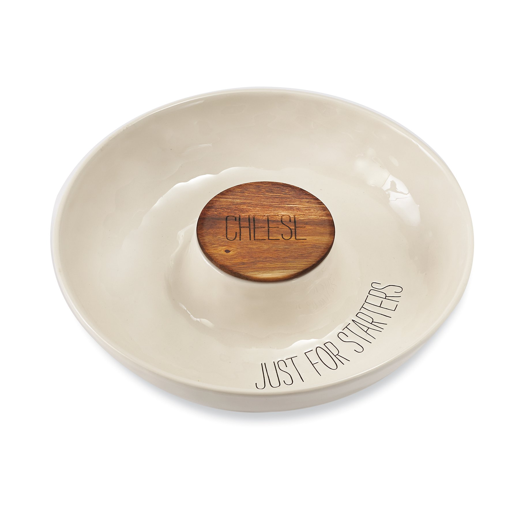 Mud Pie 4184006 Covered Cheese Chip & Dip Serving Dish, White
