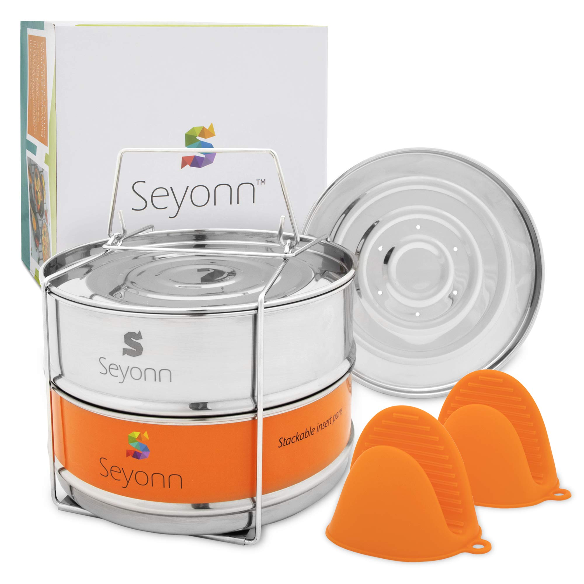 Seyonn Stackable Steamer Insert Pans, 2 BPA-Free Food Steamers Inserts, Stainless Steel, Food Grade with Lid, Handle for 5,6,8 qt, Pots, Pressure Cookers or Crock Pots, with Bonus Silicone Mitts by Seyonn