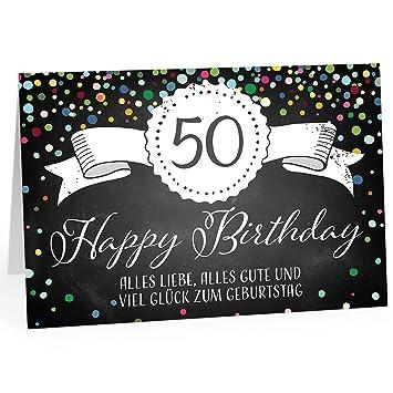 50 Geburtstag Karte.Große Glückwunschkarte Xxl A4 Zum 50 Geburtstag Tafel Look Konfetti Mit Umschlag Edle Design Klappkarte Glückwunsch Happy Birthday