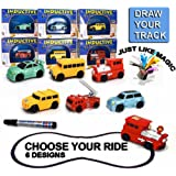 1PC Follow Any Drawn Line Magic Pen Inductive Toy Car Truck Bus Tank Model with Battery Included(6 Styles)
