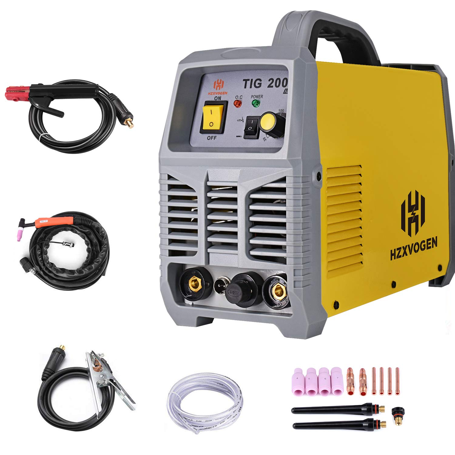 HZXVOGEN TIG Welder 220V 200A TIG ARC Stick MMA IGBT DC Inverter Continuous High Frequency Welding Machine for Stainless Steel Carbon Steel Model: TIG200A