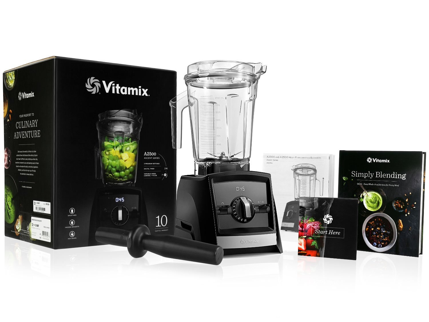 Vitamix A2500 Ascent Series Blender with 64-Ounce Container + Vitamix Simply Blending Blending Recipe Cookbook + Low-Profile Tamper + 10-Year Full Warranty - Black