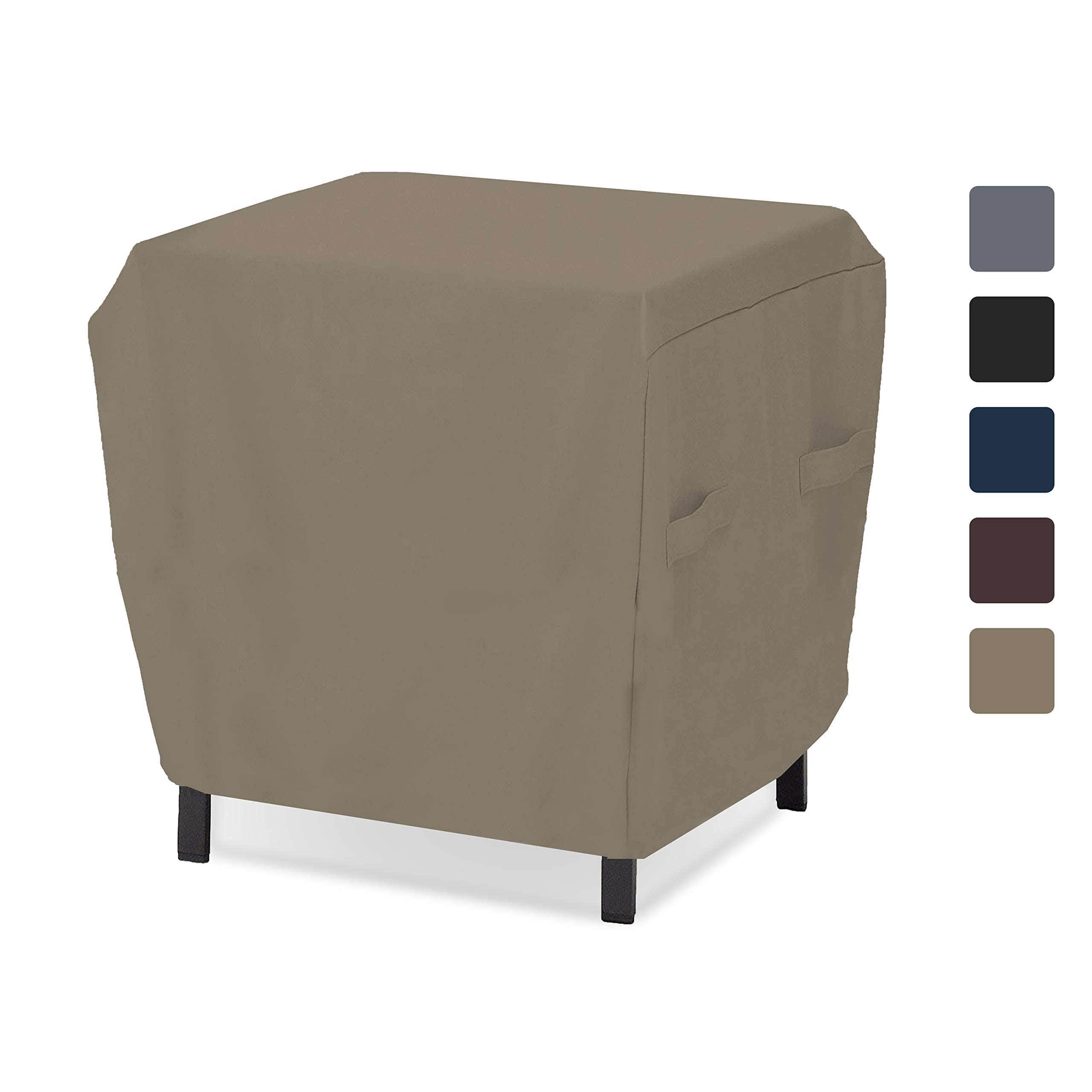 Outdoor Ottoman Cover 12 Oz - Waterproof & Weather Resistant Patio Furniture Covers - Square Ottoman Cover Heavy Duty Fabric with Drawstring for Snug fit (34'' W x 34'' L x 18'' H, Beige)