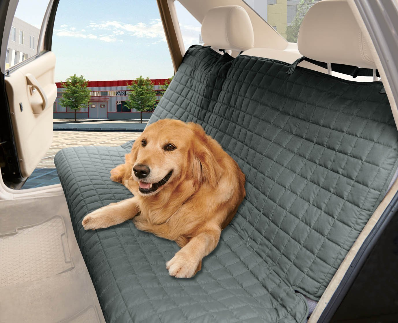 Elegance Linen Quilted 100 Waterproof Premium Quality Bench Car Seat Protector Cover Entire Rear Seat for Pets – Ties to Stop Slipping Off The Bench