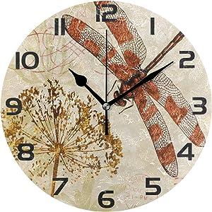 ALAZA Watercolor Retro Dragonfly Dandelion Clock Arabic Type Clock Acrylic Painted Silent Non-Ticking Round Wall Clock Home Art Bedroom Living Dorm Room Decor