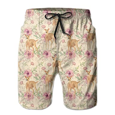 a1a5d34fcb Amazon.com: Wild Animals Flowers and Leaves Pattern Men's Quick Dry Short  Swim Trunks Water Beach Shorts Elastic Waist with Pockets: Clothing
