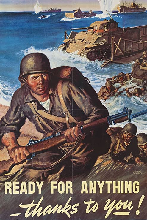 1940s Americans Will Always Fight For Liberty 18x24 WWII US Army Poster