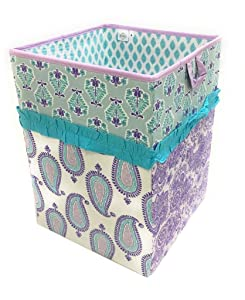 Bacati - Paisley Kids Storage (Collapsible Hamper 14 x 14 x 19 inches, Lilac/Purple/Aqua)