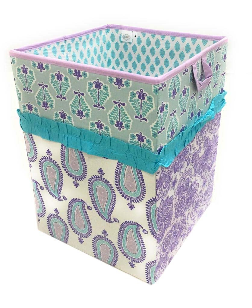 Bacati Isabella Girls Paisley Fabric Collapsible Hamper, Lilac/Purple/Aqua by Bacati