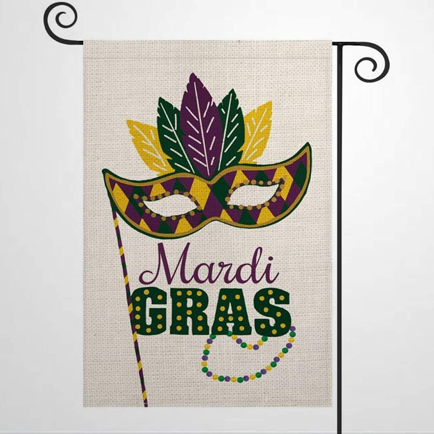 Garden Flag Mardi Gras Masquerade M-Ask Yard Decor House Decor Flag Seasonal Banners for Patio Lawn Outdoor 12x18