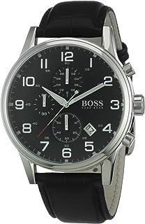 55ce147cd Amazon.com: Hugo Boss Pilot Vintage 1513330 Black / Black Leather ...