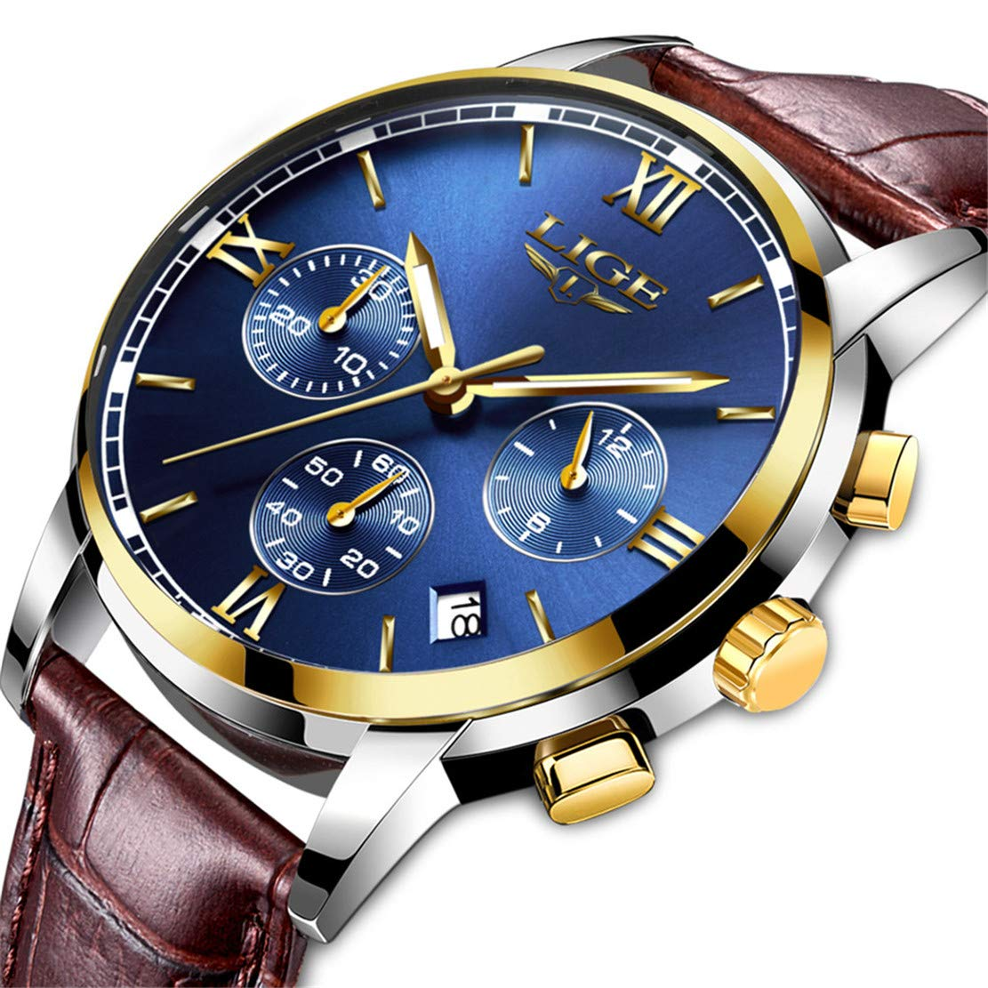 cde7d8d1 Men's Luxury Business Quartz Watch, LIGE Fashion Analog Chronograph Wrist  Watch with Brown Leather Band…